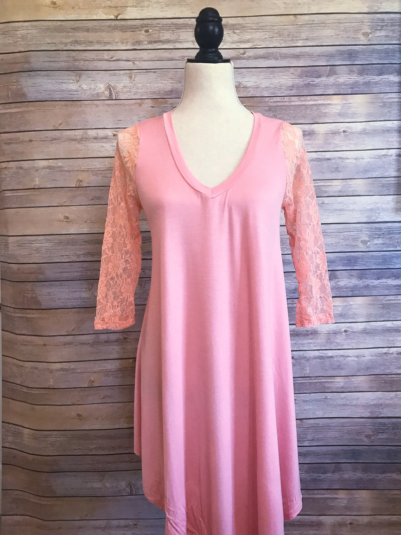 womens peach dress with lace sleeves