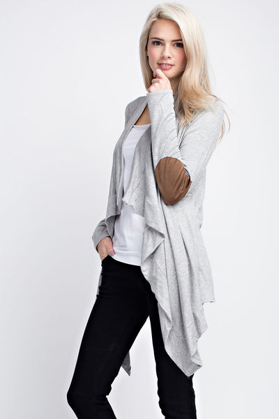 womens gray cardigan patch elbow