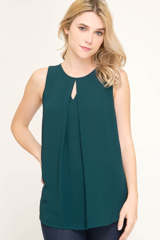 womens green sleeveless shirt keyhole neckline