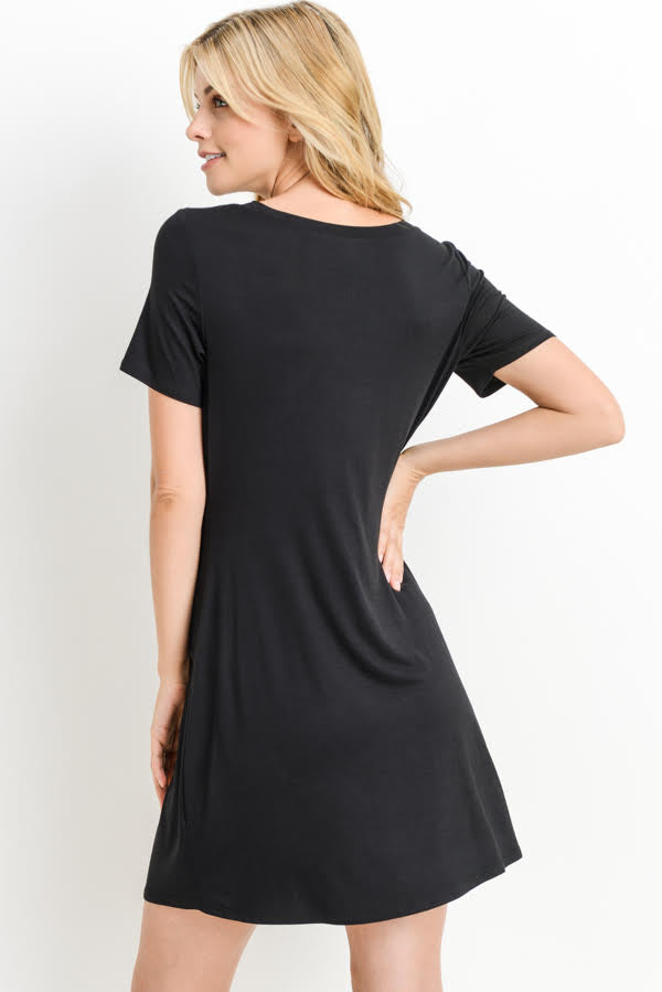 womens black short sleeve tie front dress boutique clothing