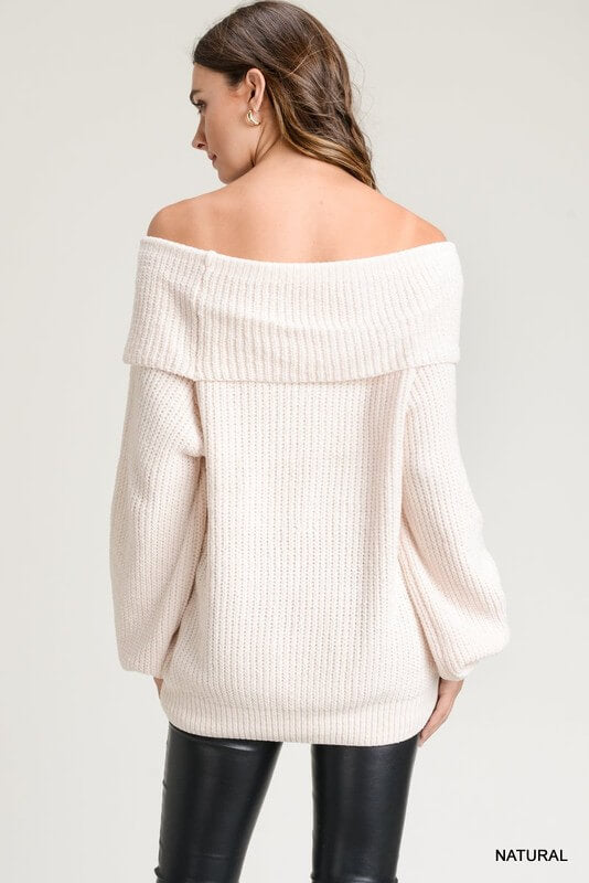 womens white off the shoulder sweater boutique clothing