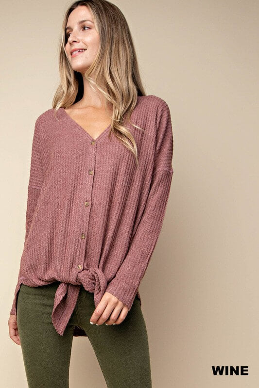womens clothing boutique mauve waffle knit long sleeve shirt