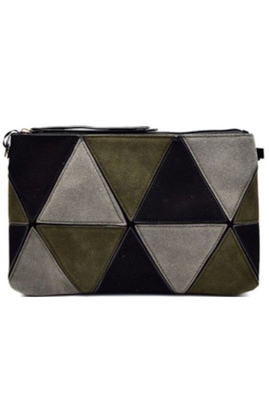 Triangle Park Faux Suede Clutch