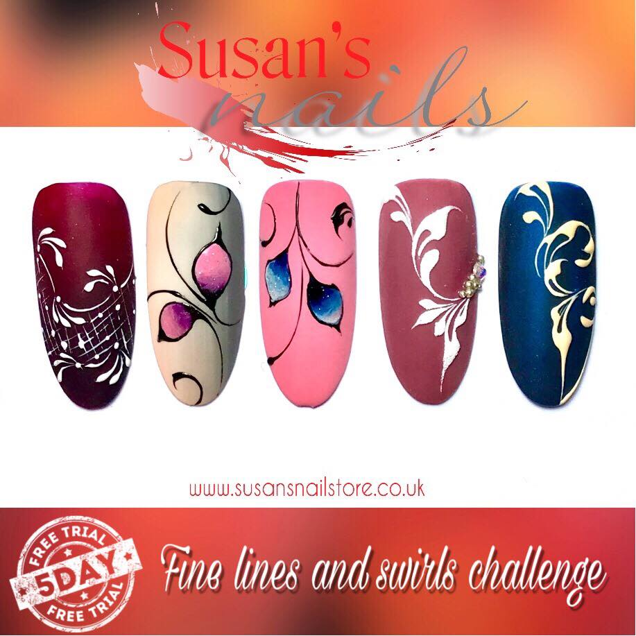 5 Day FREE Fine Lines and Swirls Nail Art Challenge Day 4