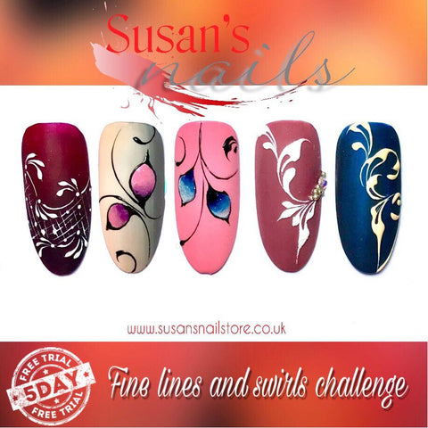 5 day FREE Fine Lines and Swirls Nail Art Challenge day 5
