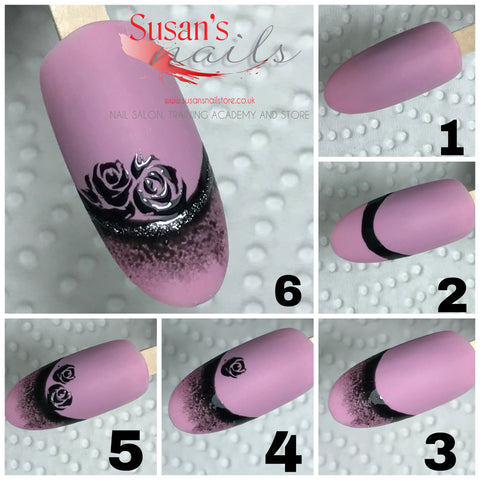 Freehand painted roses step by step