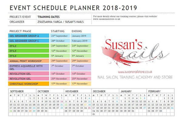 Training Dates at Susan's Nails