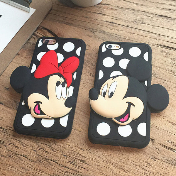 Mickey Minnie Mouse Polka Dots 3D Case For iPhone 7 7plus 6 6s 6plus 6splus 5 5S 5SE