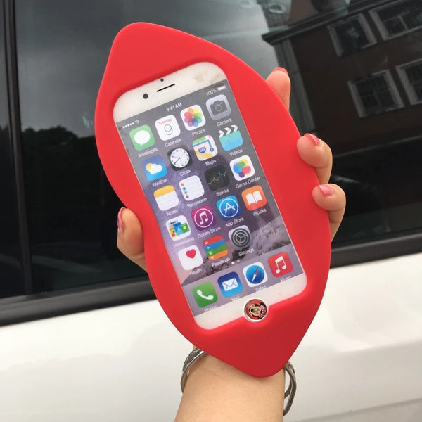 3D Silicon Sexy Red Lip Phone Case For iPhone
