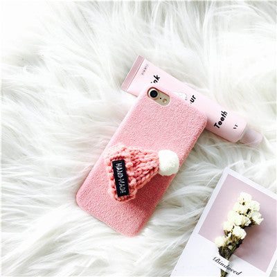 3D Cute Wool Hat Case for iPhone 6 6s 6plus 7 7plus