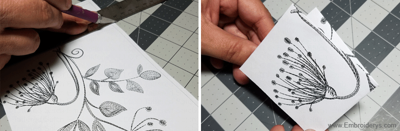 print and cut out your design - fold in half, then fold in half again - Embroiderys.com