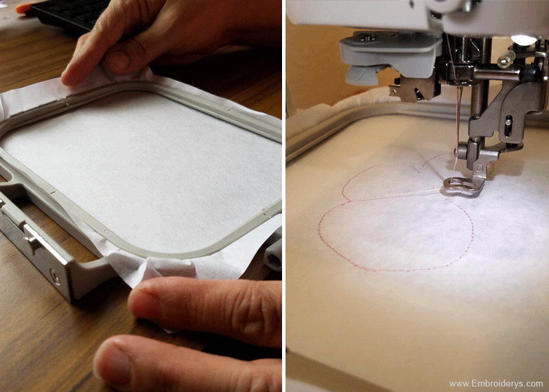 embroidery hoop and inserted in embroidery machine