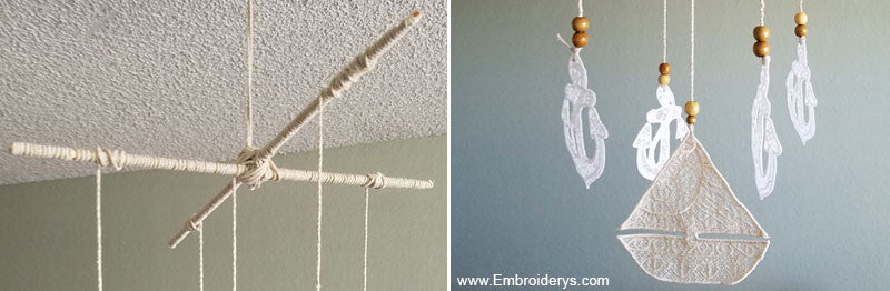 creating the nautical mobile - Tattered Stitch Embroideries