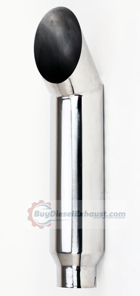 Stainless Steel Cat Miter Cut Smoker Exhaust Stack - Polished