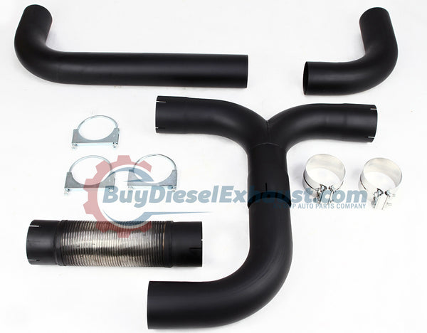 Stainless Steel Black Universal T-Pipe Dual Smoker Exhaust Stack System For Turbo Diesel Pickup Truck