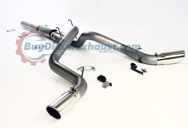 "Performance Racing Cat Back Dual Exhaust System With Muffler & Two 5"" Tips For 04.5-07 Dodge Ram 2500 3500 Cummins 5.9L Turbo Diesel Pickup Truck. 4WD Model Only"