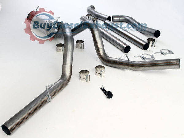 Performance Racing Turbo Back Downpipe Included DPF Delete Dual Exhaust System With Muffler For 99-03 Ford F250/F350 Super Duty Powerstroke 7.3L V8 Diesel Pickup Truck