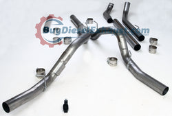 Performance Racing Turbo Back Downpipe Included DPF Delete Dual Exhaust System With Muffler For 03-04 Dodge Ram 2500 3500 Cummins 5.9L Diesel Pickup Truck