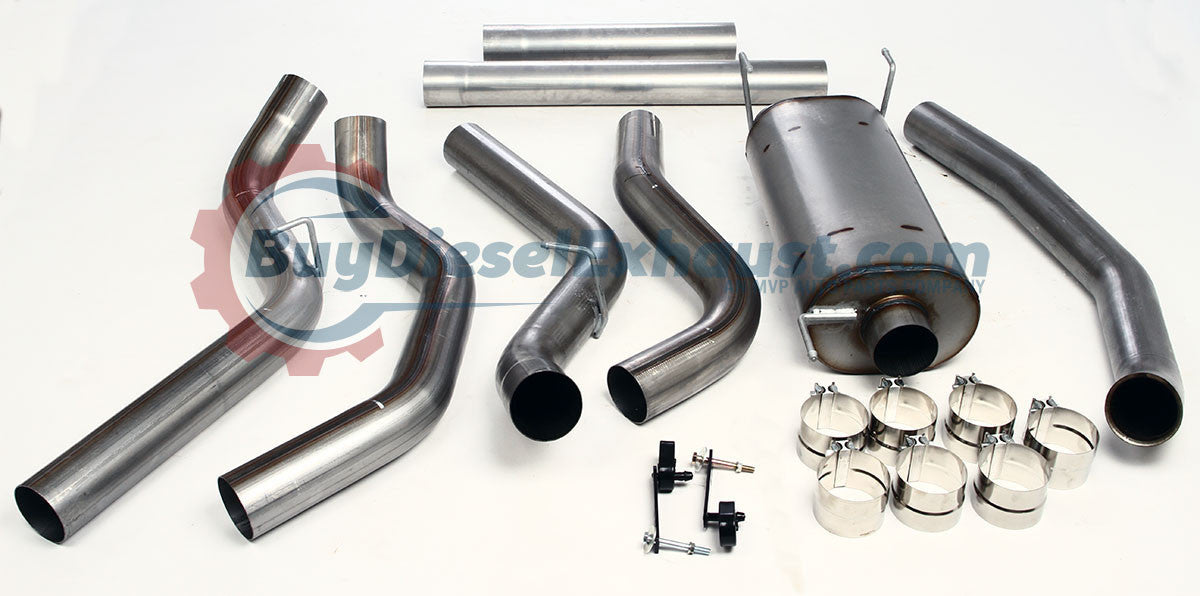 Performance Racing Turbo Back Downpipe Included DPF Delete Dual Exhaust System With Muffler For 045