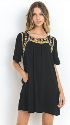 Black embroidered short sleeve dress