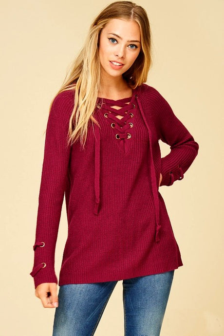Grommet Lace up Sweater Lace-up