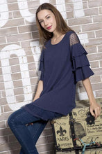 Navy tier ruffle tunic cold shoulder