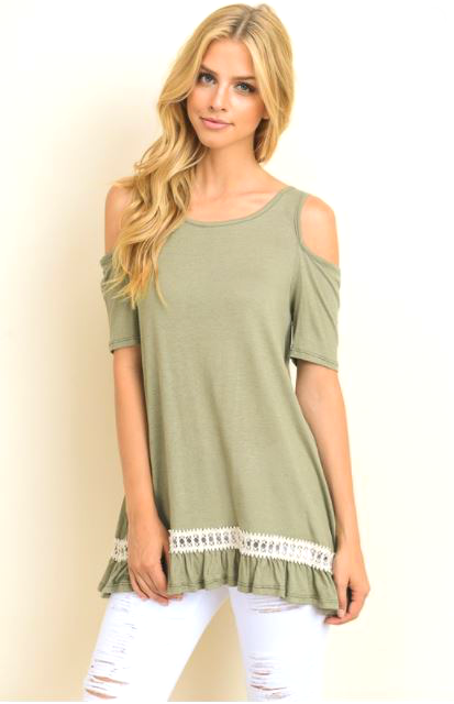 b6d4f38d6fe951 Olive Effortless Ease Cold Shoulder Top – Blue Mountain Boutique