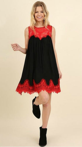 Red and black A-line dress