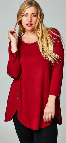 Red long sleeve top with button detailing