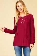 Girl's Weekend Long Sleeve V-Neck Grommet Lace Up Pullover Sweater