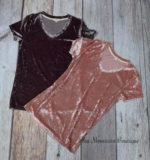 Crushed velvet tops pink and brown