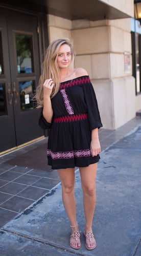 black and red off the shoulder dress