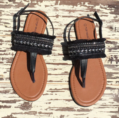 bohemian braided sling-back beach sandals