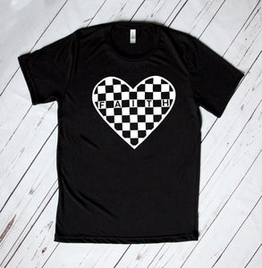Heart Checkered Faith Unisex Black T-shirt