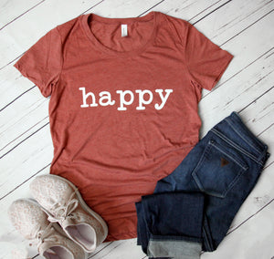 Happy Short Sleeve Women's Slim Fit Tee
