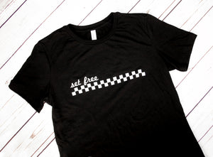 Set Free checkered black tee