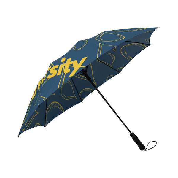 Coppin State Solid Blue Semi-Automatic Foldable Umbrella