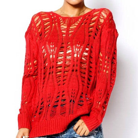 Candy Red Knit Sweater Top - Deevasden.com