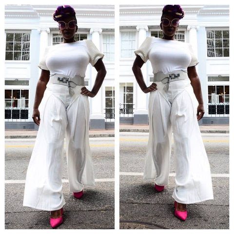 All White Affair Palazzo Pants - Deevasden.com