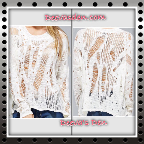 White Distressed Sweater Top - Deevasden.com