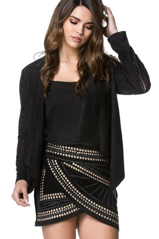 Black Affair Studded Skirt - Deevasden.com