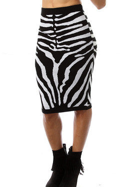 Black and White Zebra Print Kim Kardashian Inspired Pencil Skirt - Deevasden.com