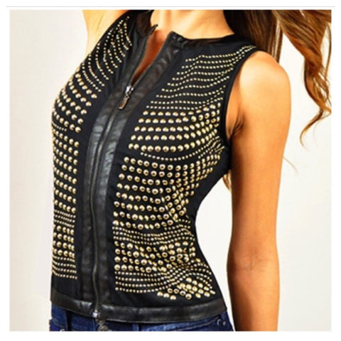 Black Leather Trimmed Gold Studded Vest - Deevasden.com