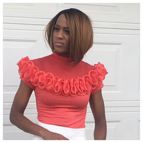 Gracia Perfectly Peach Ruffle Top - Deevasden.com