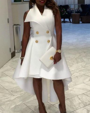 All White Affair High Low Dress
