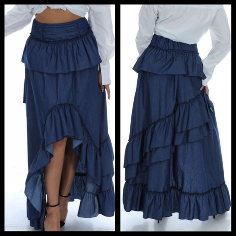 High-Low Ruffled Denim Maxi Skirt - Deevasden.com