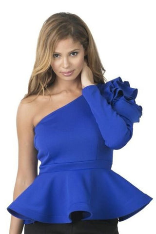 Royal Flower Peplum One Shoulder Top - Deevasden.com