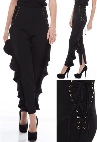 Hailey Highwaisted Side Laced Ruffled Pants - Deevasden.com