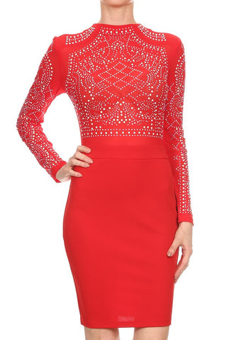 Sassy Red Rhinestone Dress - Deevasden.com