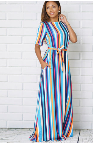 Multi Stripe Maxi Dress - Deevasden.com